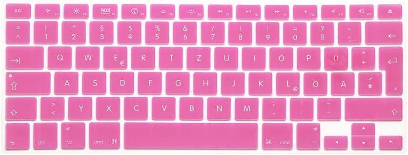 System-S Funda Protectora de Silicona para Teclado QWERTZ alem/án para MacBook Pro 13 15 17 iMac MacBook Air 13 Color Rosa