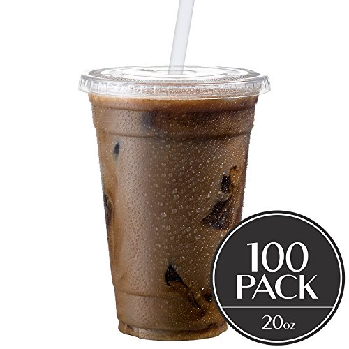 Cold Smoothie Go Cups and Lids | Iced Coffee Cups | Plastic Cups with Lids | 20 oz Cups, 100 Pack | Clear Disposable Pet Cups | Ideal for Parfait Juice Soda Cocktail Party Cups [Drinket Collection] (Plastic Cream Soda Ice Cups)