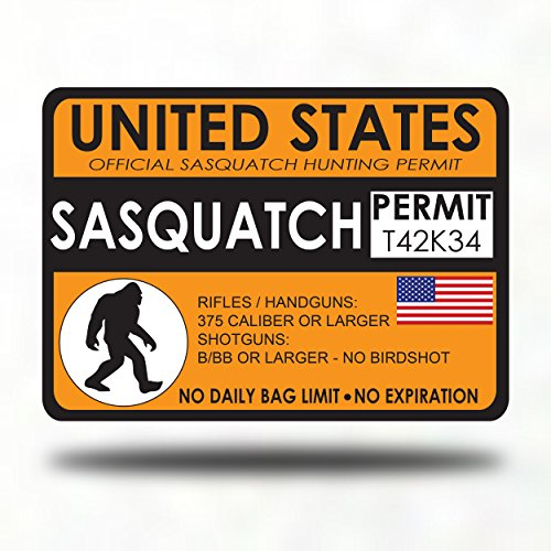 Sasquatch Bigfoot Hunting Permit - Sticker Decal Bumper - gang gifts hat costume