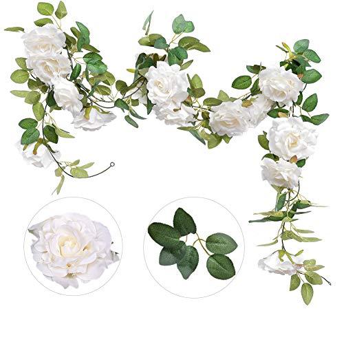 (Felice Arts 2PCS(13.8FT) Artificial Rose Vine Silk Flower Garland Hanging Fake Roses Flowers Plants for Hotel Office Wedding Home Party Garden Craft Art)