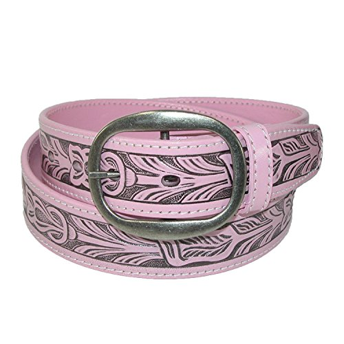 CTM Leather Western Embossed Belt with Removable Buckle, 44, Pink ()