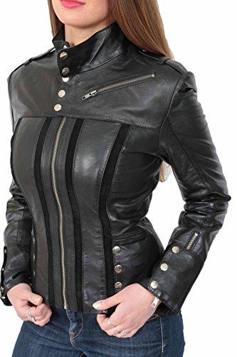 Tan Chaqueta Mujeres Fit Coat Crop Brown Genuine Sweden Slim Lily Cuero Combo Biker Black De TqTwx7tpA