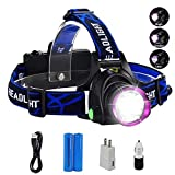 Lightess Head Lamps Rechargeable Headlamp Flashlight Super-bright 2200 Lumens Waterproof Head Torch With