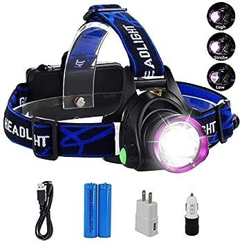 Headlamp,GRDE Rechargeable Led Headlamp Headlight Flashlight 3 Modes with Adjust