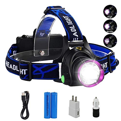 Lightess Head Lamps Rechargeable Headlamp Flashlight Super-Bright 2200 Lumens Waterproof Head Torch With 3 Modes, XM-L T6 LED Powerful Headlight For Camping Fishing Cycling Running Hiking Hunting