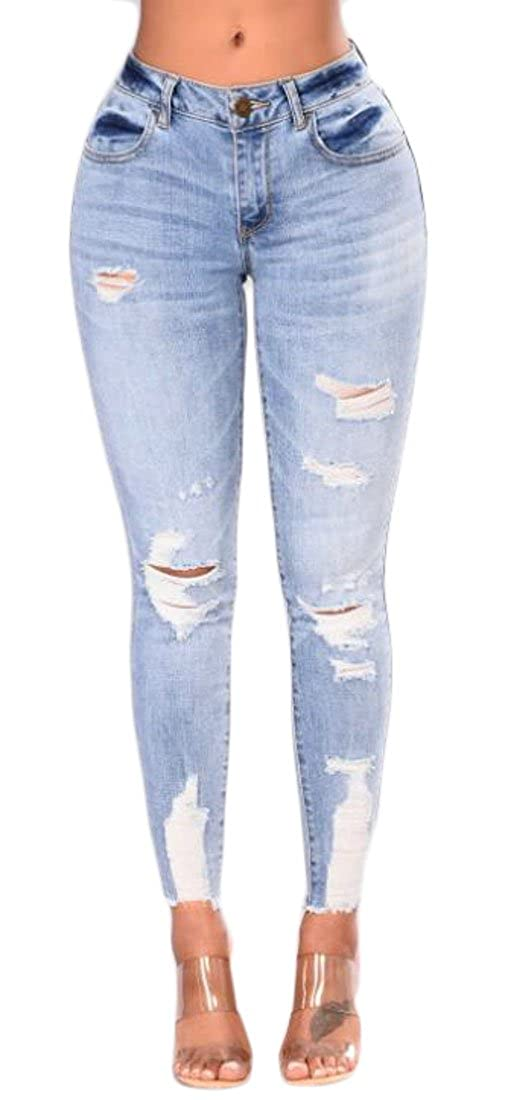 WAWAYA Womens Skinny Mid Waist Stretch Ripped Holes Slim Fit Jeans Denim Pencil Pants