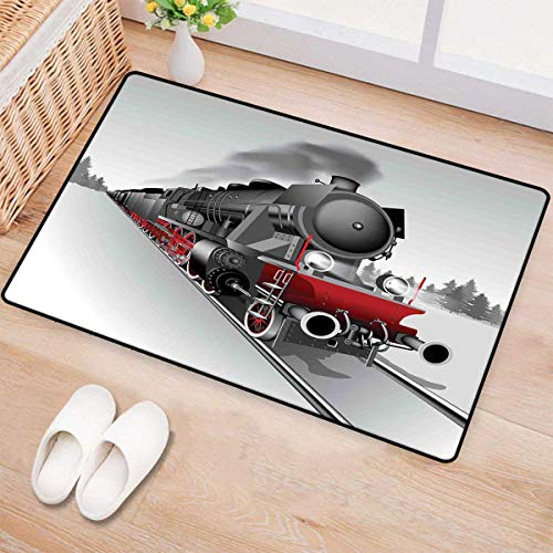 Steam Engine,Bath Mat,Locomotive Red Black Train on Steel Railway Track Travel Adventure Graphic Print,Door Mat Small Rug,Red Grey 24