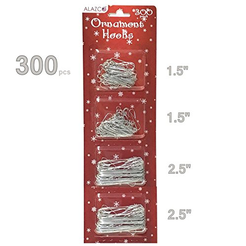 ALAZCO Christmas Holiday Ornament Hanger Hooks (300 Silver) Hang Ornaments from Trees, Garlands and Wreaths