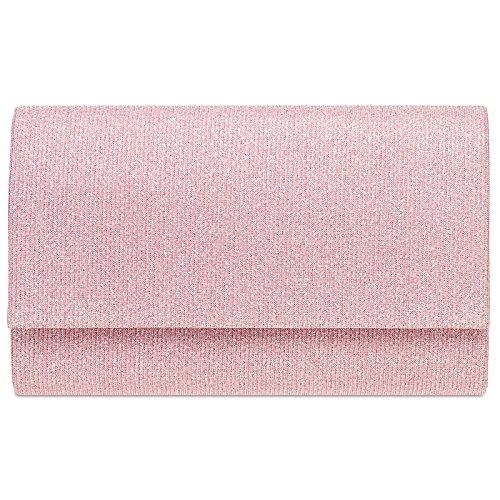 CASPAR TA400 Bolso de Mano Fiesta Brillante para Mujer de Estilo Clutch Rosa