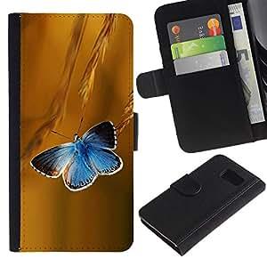 Samsung Galaxy S6 / SM-G920 , la tarjeta de Crédito Slots PU Funda de cuero Monedero caso cubierta de piel ( Butterfly Rye Blue Flight Spring Summer)