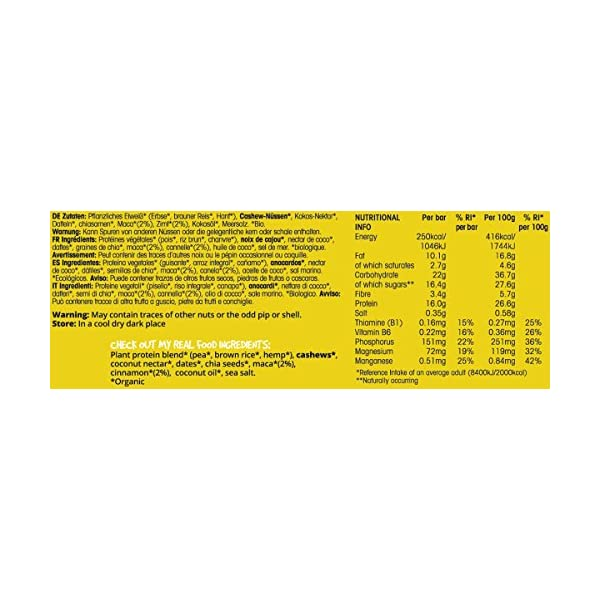 BodyMe Organic Vegan Protein Bar | Raw Maca Cinnamon | 60g (2.12oz) | with 3 Plant Proteins