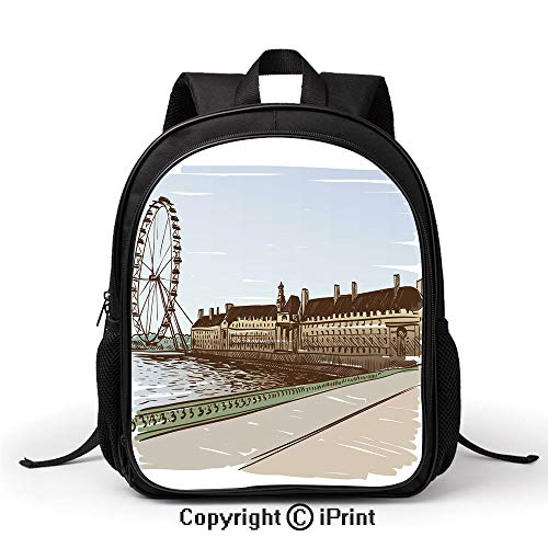 3D printing Customized School bag Buckingham Palace Historical Building Thames River Ferris Wheel Pencil Drawing Art Decorative Backpack :Suitable for men and women,school,travel,daily use,etc,Multico