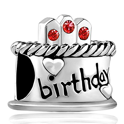 - LovelyJewelry Heart Love Birthday Happy Charms July Birthstone Candles Birthday Cake Beads For Bracelets