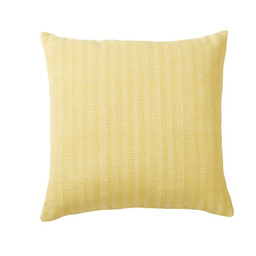 Indoor/Outdoor Decorative Pillow 18x18. Solid Color on One Side, Dotted on the Other. Jacquard Pattern. Rina Collection By Great Bay Home. (Buttercup) (Solid Outdoor Pillow)