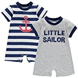 Wan-A-Beez Baby Boys' 2 Pack Graphic Short Sleeve Romper (24 Months, Red/Blue - Sailor)