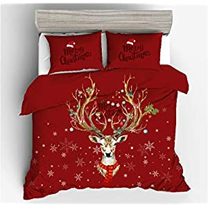 NTBED Christmas Bedding Duvet Cover Sets Quilt Cover Deer Printed Gift Quilt Cover Sets …