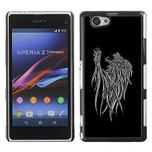 Be Good Phone Accessory // Dura Cáscara cubierta Protectora Caso Carcasa Funda de Protección para Sony Xperia Z1 Compact D5503 // Abstract Lion Art