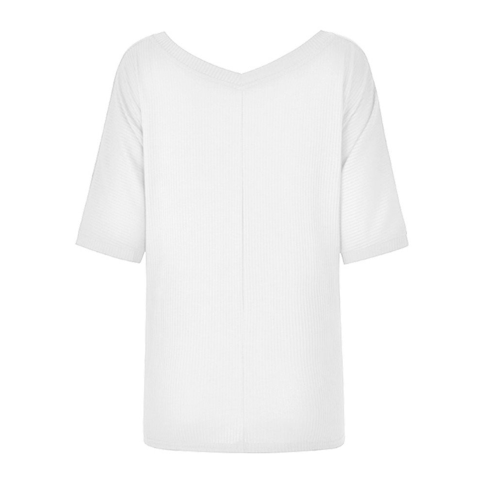 Bloomn Womens Shirts Casual T-Shirts Womens Casuasl Solid V-Neck Short Sleeve Bandage