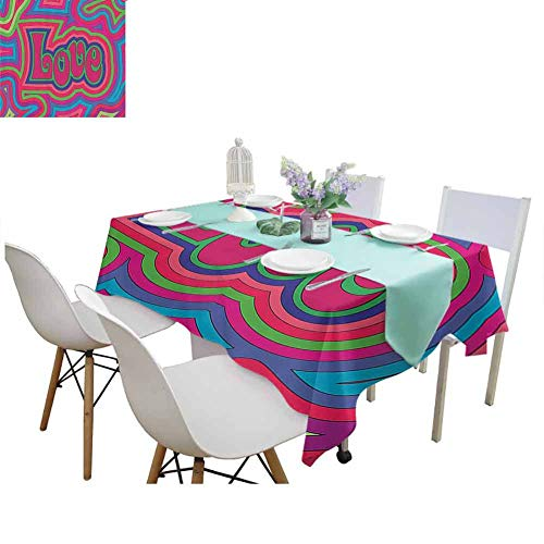 familytaste Dinning Tabletop Decoration Groovy Decorations Collection,Groovy Psychedelic Love with Offset Swirls Cheerful Colors Festival Joyful Art,Blue Green Pink Tablecloths for Sale 70 x 102 Inch (4 Color Offset Printing Machine For Sale)