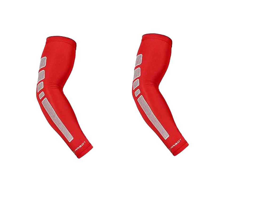 Arm Sleeve - Sports Compression Sleeves for Baseball, Basketball, Football, Cycling, Golf - Elbow Brace for Arthritis, Lymphedema - UV Protection, Tattoo Cover (1 Pair) (Red, M 9.5-11.8'')