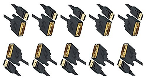 C&E 10 Pack, 10 Feet DisplayPort to DVI Video Cable, DisplayPort Male to DVI Male, CNE464317