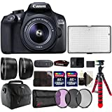Canon EOS 1300D 18MP DSLR Camera + 18-55mm + 58m Filter Kit + Telephoto and Wide Angle Lens + Two 32GB Memory Card + Card Holder + Reader + Led Video Light + Case + Flexible Tripod + 3pc Cleaning Kit