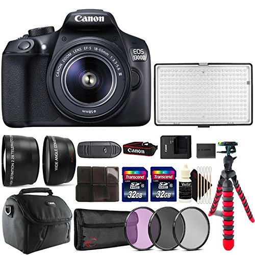 Cheap Canon EOS 1300D 18MP DSLR Camera + 18-55mm + 58m Filter Kit + Telephoto and Wide Angle Lens + Two 32GB Memory Card + Card Holder + Reader + Led Video Light + Case + Flexible Tripod + 3pc Cleaning Kit