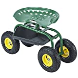 Uenjoy Garden Cart Work Seat with Tool Tray Gardening Wagon Rolling Heavy Duty Cart, 330Ibs Green