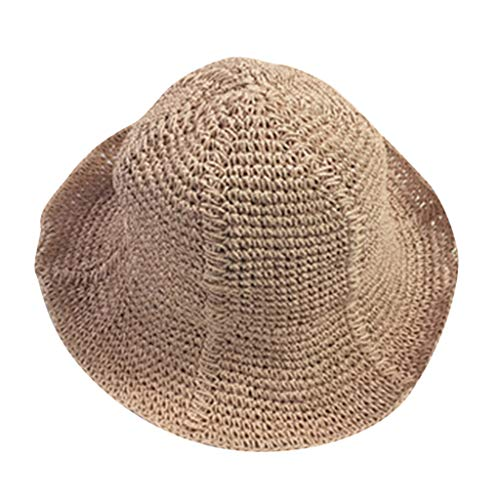 - iCJJL Women's Packable Woven Crochet Straw Sun Hat Crushable Beach Cap Braided UPF Protection Panama Fedora Red