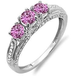14K White Gold Round White Diamond & Pink Sapphire Ladies Vintage Bridal 3 Stone Engagement Ring