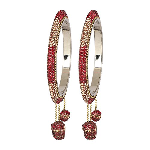 - MUCH-MORE Exclusive Charm Look Lac Made Kada Bangles in Multi Color for Womens Partywear Jewelry (Maroon, 2.8)
