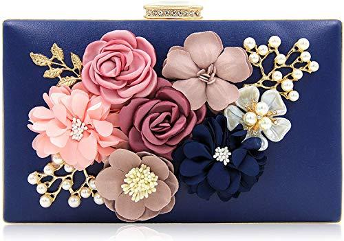 (Milisente Evening Bag for Women, Flower Wedding Evening Clutch Purse Bride Floral Clutch Bag(Navy Blue))