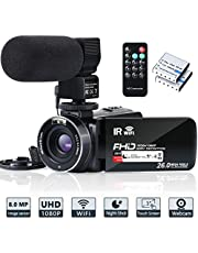 Video Camera Camcorder WiFi FHD 1080P 30FPS IR Night Vision YouTube Vlogging Camera Recorder 26MP 3 inch Touch Screen 16X Digital Zoom Camcorder with Remote,Microphone,and 2 Batteries