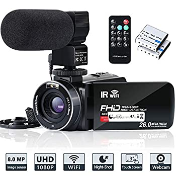 Image of Video Camera Camcorder WiFi IR Night Vision FHD 1080P 30FPS YouTube Vlogging Camera Recorder 26MP 3.0'' Touch Screen 16X Digital Zoom Camcorder with Microphone,Remote and 2 Batteries Camcorders