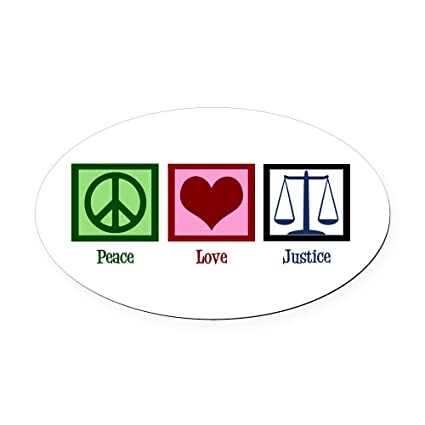 Cafepress peace love justice oval car magnet oval car magnet euro oval magnetic