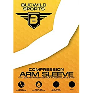 Bucwild Sports Compression Arm Sleeves (Pair) Youth & Adult Sizes Football, Baseball, Basketball, Cycling, Tennis Purple Camo Adult Medium