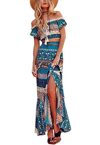 Wrap Skirt Set (Luluka Women's Floral Print Off Shoulder Crop Top and Maxi Skirt Set 2 Pieces Outfit Boho Dress US Large Blue)