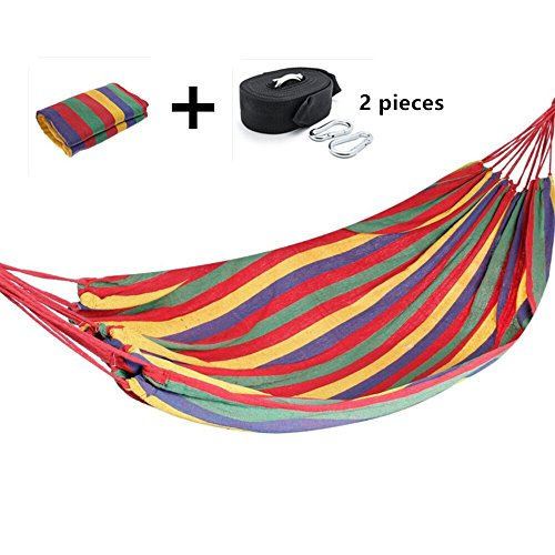 Lwang Hammock - Best Hammocks for Camping Equipment Sports Outdoors Gear Backpack Hiking Hunting Patio Furniture Relaxation Includes Built-in Travel Bag - Lifetime Warranty (Red)