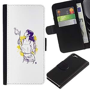 KLONGSHOP // Tirón de la caja Cartera de cuero con ranuras para tarjetas - Burbujas Sexy - Apple Iphone 6 //