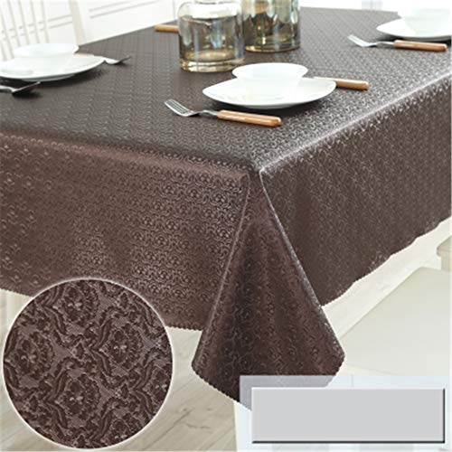 (wrgfhb Waterproof, oilproof, Anti-scalding, Disposable Tablecloth, Modern pu Leather, Round Table Cloth, Square Table, Coffee Table, mat Brown Crochet Flower 140x210cm)