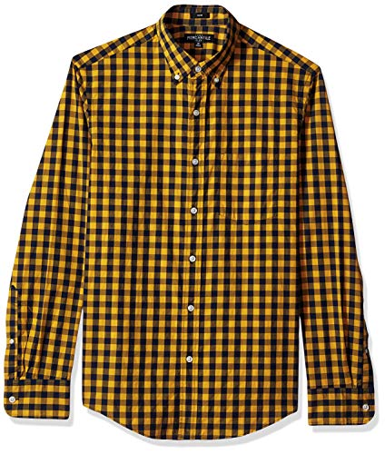 J.Crew Mercantile Men's Slim-Fit Long-Sleeve Gingham Shirt, Navy Yellow Check, M