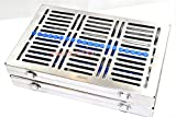 2 GERMAN DENTAL AUTOCLAVE STERILIZATION CASSETTE TRAY FOR 20 INSTRUMENTS 11.25X7.25X1.25'' BLUE ( CYNAMED )