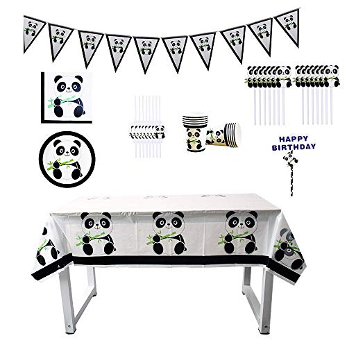Chris.W 65Pcs Panda Birthday Party Supplies, Animal Themed Party Favors, Includes Banner, Straws, Plates, Cups, Cupcake Toppers, Tablecloth and Napkins