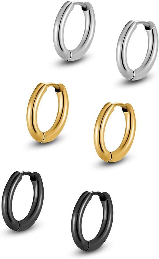 NUITS DE JUIN Stainless Steel Huggy Hoop Earrings - Hinged Hoop Huggie Piercing Earrings Set for Men Women,Hypoallergenic Helix Lobes
