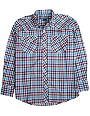 Bronco Adams Men's Long Sleeve Classic Plaid Shirt with Easy Open Snap Front