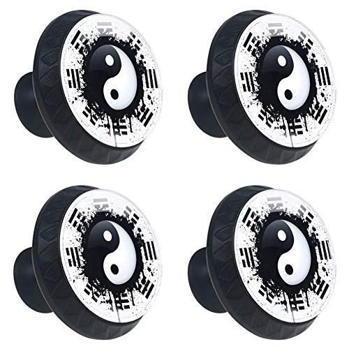 (LORVIES Black and White Yin Yang Drawer Knob Pull Handle Crystal Glass Circle Shape Cabinet Drawer Pulls Cupboard Knobs with Screws for Home Office Cabinet Cupboard (4 Pieces))