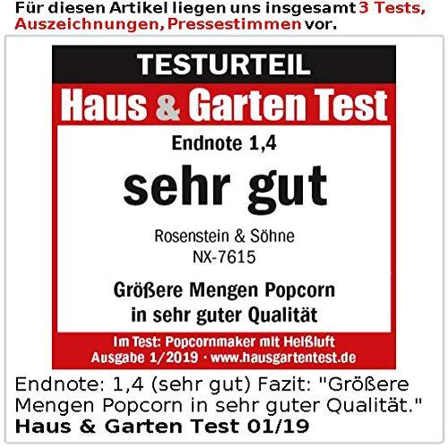 Rosenstein & Söhne Popcorn Maker: máquina de palomitas de aire caliente XL, para 100 g de maíz máx., 1.200 W (palomitero): Amazon.es: Hogar