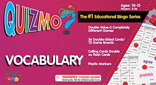Learning Advantage QUIZMO Vocabulary - 36 Double-Sided Game Boards - Bingo-Style Language and Literacy Game for Kids - Teach Synonyms and Antonyms