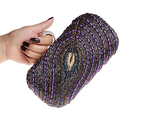 Clutch Handbag Pleated Classic Envelope Purple Purse Women GSHGA Bag Clutch Shoulder Evening Bag qHwg1Wvx5