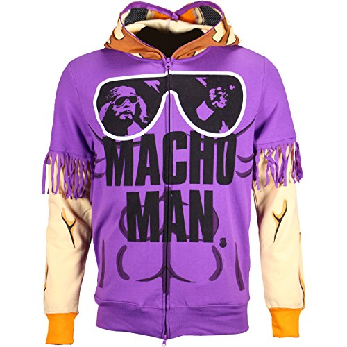 Men's WWE Macho Man Randy Savage Costume Hoodie Sweatshirt Purple Large - Wwe Macho Man Costume